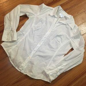 LOFT White Button Down Long Sleeve Blouse